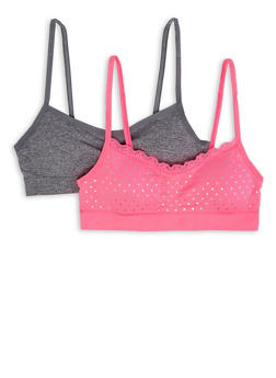 Girls 7-16 Set of 2 Polka Dot and Solid Cami Bras - 7568054730426