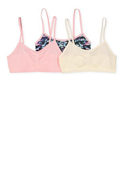 Girls 7-12 Set of 3 Solid and Printed Cami Bras - 7568054730455