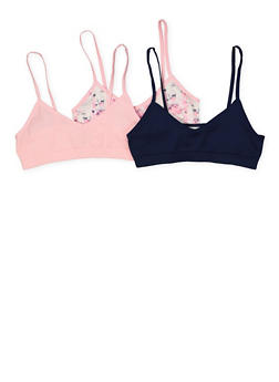 Girls 7-12 Set of 3 Seamless Solid and Printed Cami Bras - 7568054730456