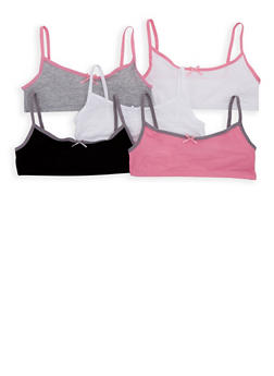 Girls 4-16 Set of 5 Contrast Trim Cami Bras - 7568054730460