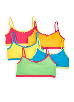 Girls 4-16 5 Pack Colored Cami Bras - 7568054730462