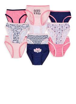 Girls 4-6x Set of 10 Solid and Printed Panties - 7568054730494