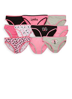 Girls 7-16 Paris Print Assorted Panties 10 Pack - 7568054730518