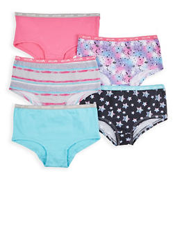 Girls 7-16 Set of 5 Solid and Printed Panties - 7568054730566