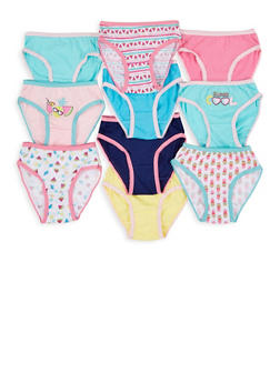 Girls 7-16 Set of 10 Solid and Printed Panties - 7568054730585