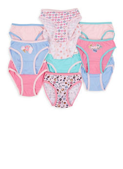Girls 7-16 Set of 10 Graphic Print and Solid Panties - 7568054730587
