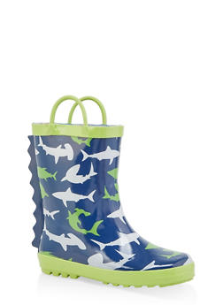 Girls 5-6 Spike Detail Printed Rain Boots - NAVY - 7570038340003
