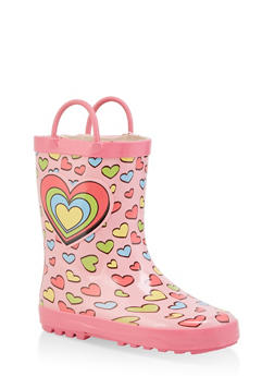 Girls 11-3 Heart Rain Boots - PINK - 7570038340004