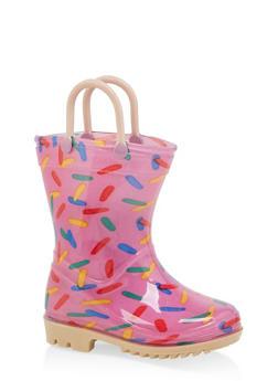 Girls 5-10 Printed Contrast Detail Rain Boots - 7570038340006