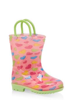 Girls 5-10 Printed Rain Boots - PINK - 7570038340006