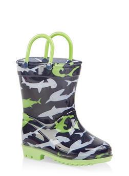 Girls 5-10 Printed Rain Boots - NAVY - 7570038340007
