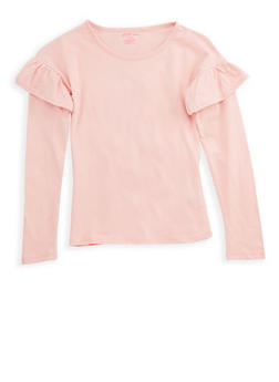 Girls 7-16 Long Sleeve Ruffled Solid Top - 7604061950003