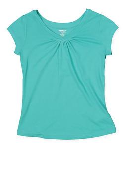 Girls 7-16 French Toast Shirred Tee   Turquoise - 7604068320030