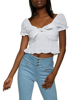 Eyelet Smocked Tie Front Crop Top - 8306015059926
