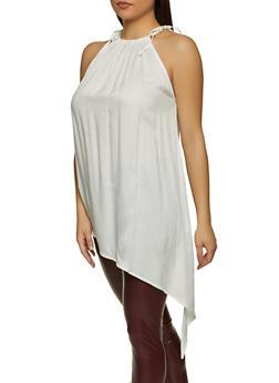 Asymmetrical Tie Shoulder Top - 8306020627599