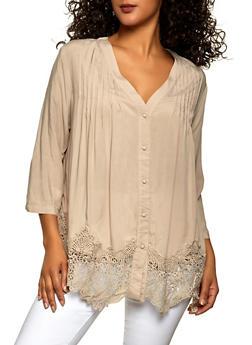 Pleated Crochet Trim Button Front Shirt - 8306030842009