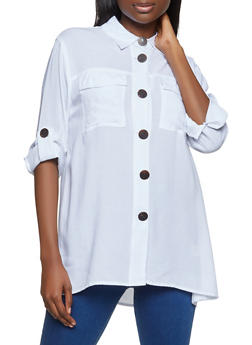 Tabbed Sleeve Button Front Top - 8306051061166
