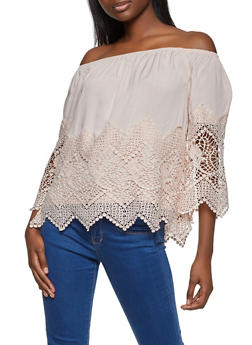 Crochet Trim Off the Shoulder Peasant Top - 8306051069860