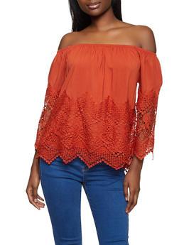 Crochet Trim Off the Shoulder Peasant Top - 8306051069860