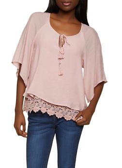 Gauze Knit Crochet Trim Top - 8306056120022