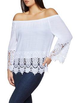 Crochet Trim Off the Shoulder Top - 8306056120023