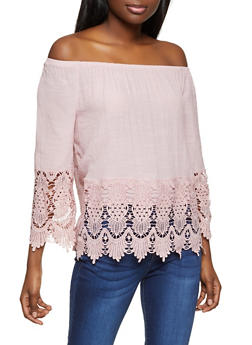 Crochet Trim Off the Shoulder Top - 8306056120023