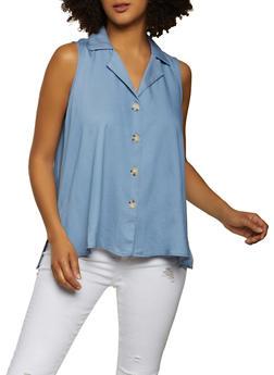 Sleeveless Chambray Shirt - 8306056120135