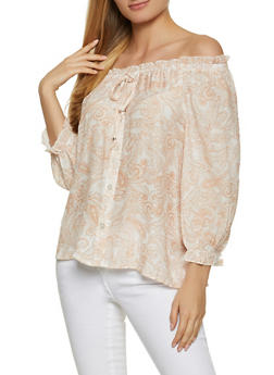 Paisley Off the Shoulder Top - 8306056120158