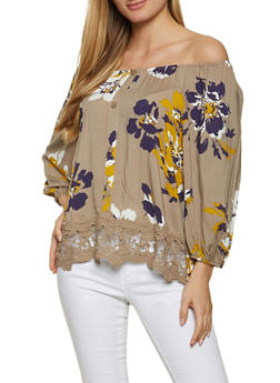 Floral Off the Shoulder Crochet Trim Top - 8306056120210