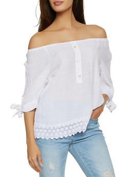 Crochet Trim Tie Sleeve Off the Shoulder Top - 8306056121500
