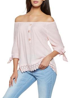 Crochet Trim Tie Sleeve Off the Shoulder Top - 8306056121500