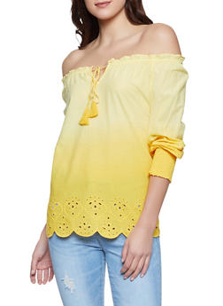 Ombre Off the Shoulder Eyelet Top - 8306056125041