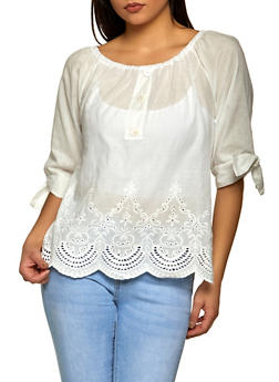 Off the Shoulder Eyelet Trim Peasant Top - 8306056125086