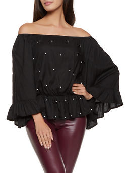 Faux Pearl Off the Shoulder Peasant Top - 8306061635718
