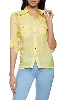 Crochet Yoke Button Front Shirt - 8306062702118