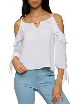 Double Ruffle Cold Shoulder Blouse - 8306062702119