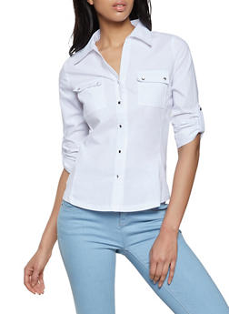 Two Pocket Tabbed Button Front Shirt - 8306062702121