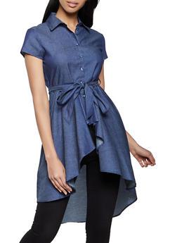 Denim High Low Shirt - 8306062702805