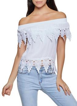 Crochet Trim Gauze Knit Off the Shoulder Top - 8306062703071