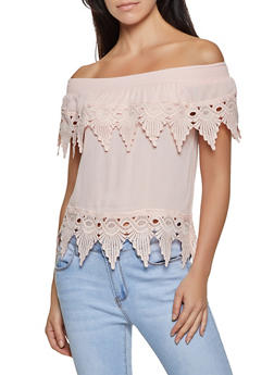 Crochet Trim Gauze Knit Off the Shoulder Top - 8306062703071