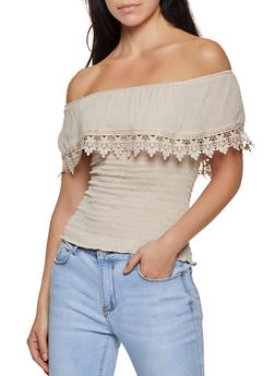 Smocked Crochet Trim Off the Shoulder Top - 8306062703072