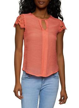 Crochet Cap Sleeve Linen Top - 8306062703318