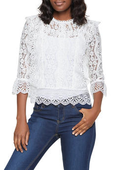 Lace Ruffled Three Quarter Sleeve Top - 8306069390047