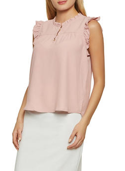 Half Button Ruffle Trim Blouse - 8306069390154