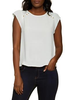 Cap Sleeve Button Detail Blouse - 8306069390155