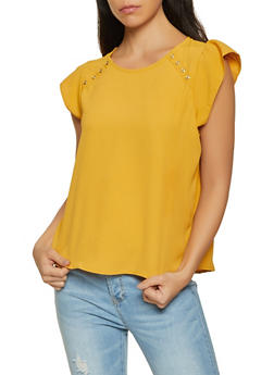 Cap Sleeve Button Detail Blouse - 8306069390155