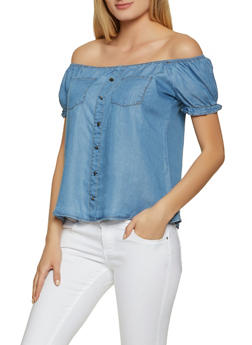 Chambray Off the Shoulder Peasant Top - 8306069393294