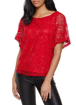 Sequin Crochet Top - 8306074733235