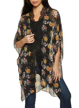 Printed Kimono with Tank Top - 8307015995385