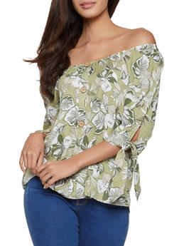 Tropical Print Off the Shoulder Top - 8307056120011